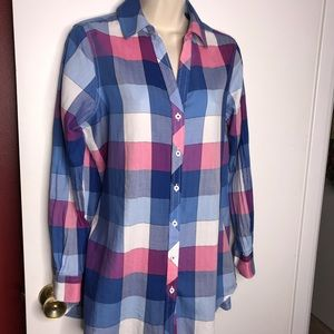 Foxcroft plaid blouse size 8